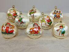 LOT of 8 Vintage Satin Ball Ornaments Wrap Christmas Tree Decor White 1970s