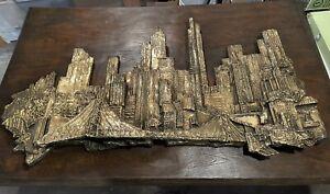 1970's Finesse Originals Pittsburgh Skyline Art Brutalist Wall Sculpture 5' x 3'