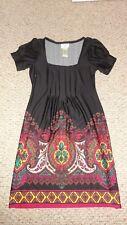 LADIES BLACK & MULTI-COLOR PRINT DRESS BY ICE SIZE 4