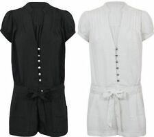 V Neck Cap Sleeve Patternless Playsuits for Women