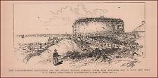 NEW CASTLE, New Hampshire, Fort Constitution, antique engraving, print 1889