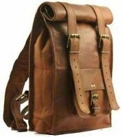 Men's Real Leather Backpack Laptop Bag Large Hiking Travel Camping Rucksack New