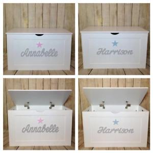 Personalised Toy Box Wooden Storage Bespoke Chest Nursery Boys Girls Personalise