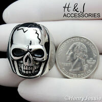 MEN Stainless Steel Silver/Black Skull Face BIKER Ring Size 8-13*AR91