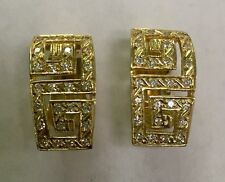 14K SOLID YELLOW GOLD EARRINGS WITH CZ'S Heavy Weight