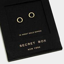 Hoop Earrings Tiny Secret Gift Box 14K GOLD DIPPED Small Stud Classic Elegant