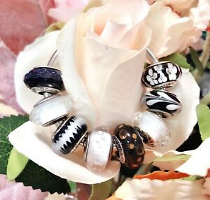 8 PANDORA Silver 925 ALE Murano Charm Black White Flower Flag Zip  Beads
