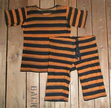 Vintage 1920s Wool Swimsuit Orange/Blk Stripes Antique Bathing Suit Shirt Shorts