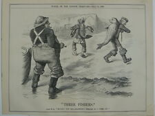 PUNCH cartoon 1890 THREE FISHERS seal lobster newfoundland behring