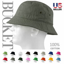 MEN 100% COTTON FISHING BUCKET HAT CAP SUN BOONIE SUMMER BRIM VISOR