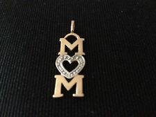 14K Solid White and Yellow Gold MOM Diamond Cut Heart Pendant - Excellent