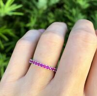 3Ct Round Cut Pink Sapphire Full Eternity Wedding Band 14K White Gold Finish