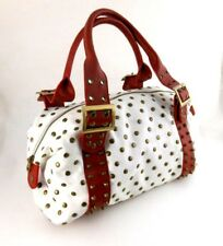 Hand Bag, Two Lips, Bucket Purse, Brass Studded White, Red Strap Handles, Mint