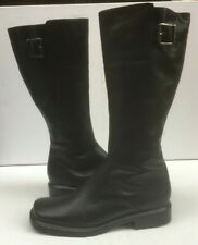 Black Leather 8 Boots 42 Knee Lined Flat Biker Remonte Ladies Square Buckle VGC