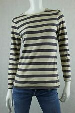 ANN TAYLOR LOFT Women's Size XS Gray & Beige Striped Long Sleeve Knit Top