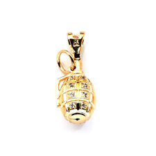 10K Yellow Gold Real Diamond Hand Grenade Pendant Charm 4.70 Grams