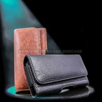 Horizontal Leather Cell Phone Pouch Wallet Case Holder Belt Clip Holster Cover