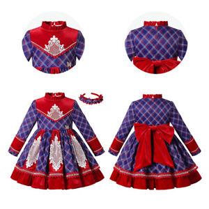 Traditional Kids Girls Christmas Dress Plaid Dresses with Headband Long Sleeve