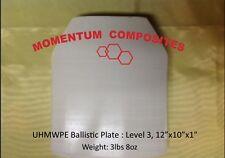 "Ballistic UHMWPE Hard Panel SAPI Cut 10""X12""x1 Body Armor LVL 3"