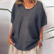 Women Casual Summer Loose Linen O-Neck Short Sleeve Plus Size Top T-Shirt Blouse