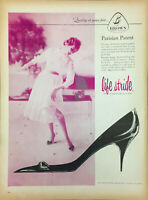 Vintage 1958 Brown Shoe Company Woman In Life Stride Pump Shoe Print Ad