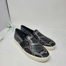 VINCE 'women's slip on Sneaker Garvey Leather Black/Gray Snake Embossed Size 10
