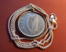 """1940 IRELAND SILVER Flóirin COIN PENDANT on a 22/"""" 925 SILVER ITALY SNAKE Chain"""