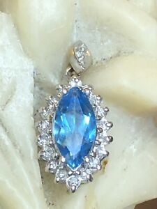 VINTAGE 14K GOLD NATURAL BLUE TOPAZ BLUE SAPPHIRE & DIAMOND PENDANT