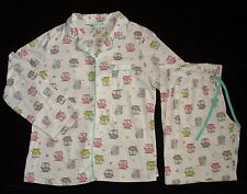PJ Couture White Owl Knit Pajama Set Womens Medium Large Hearts SEE MEASUREMENTS