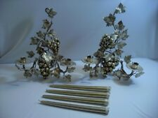 Vintage Italian Grape Leaf Wall Sconces Gold Florentine Set Two (2) Taper Candle