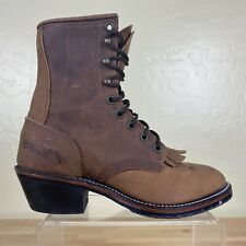 Vintage DD Tuff Lace Up Roper Kiltie Boots Womens Size 7 M Brown Leather USA