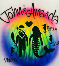 Airbrush T Shirt, Pirate and Mermaid Couple and Seahorse Family