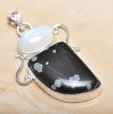 "Handmade Natural Obsidian Snowflake 925 Sterling Silver Pendant 2.25"" #P14159"