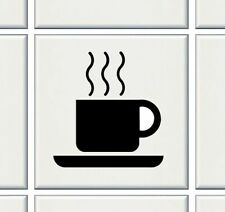 """12 x TEA CUPS BLACK FOR 6 """"TILE transfers stickers kitchen bathroom (+Col's)"""