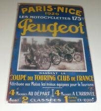 Plaque Métal Tôlée Vintage 20 X 30cm  PEUGEOT MOTO PARIS NICE 1926 Neuf NEWS