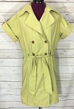 CAbi Chartreuse Green Trench Coat Style Belted Shirt Dress Size Large