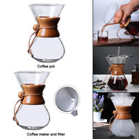 Transparent Pour Over Coffee Maker Glass Carafe Hand Drip Coffee Brewer 27oz