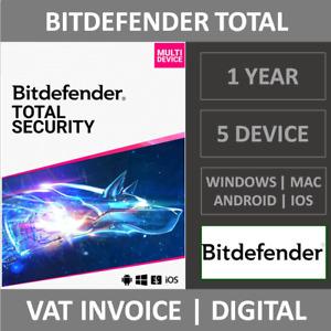 Bitdefender Total Security 2021 | 5 Device | 1 Year | Windows/MAC/Phone + VPN