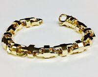 """10k Solid Yellow Gold Anchor Mariner Bullet Link Bracelet 10.5 MM 83 grams 10"""""""