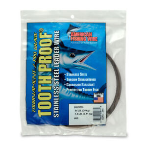 #5 ToothProof Stainless Steel Single Strand Leader, 44 lb (20 kg) test Brown