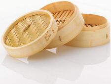 25cm Bambus Bambusdämpfer mit Edelstahlringen Banding 2 Etagen Dampfer Gemüse