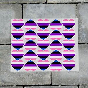 25 x Gender-fluid Flag Heart Stickers Decals LGBTQ Pride - 37mm x 30mm - SKU7163