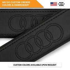 Seat Belt Covers Shoulder Strap Leather Pads Custom Fits Audi Rings Black 2PCS