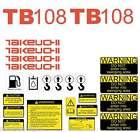 Takeuchi TB108 Decals Kit Mini Excavator repro Decal Set TB108 stickers kit