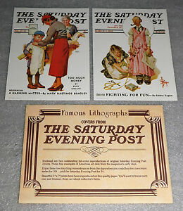 Saturday Evening Post Reprint Lithograph 1932 1937 Set 2 Envelope 1972