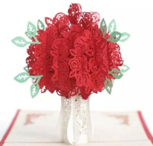 Valentines 3D Pop-up Red Roses Flowers Bouquet Blank Greeting Card with Envelope