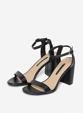 Dorothy Perkins Womens Black Shimmer Heeled Sandals Strappy Open Toe Shoes
