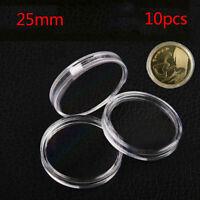 10 Stücke 25mm Angewendet Klar Runde Fällen Münze Aufbewahrungsboxen Kapsel  xj