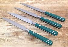 4 Steak Knives Farberware Hunter Green Plastic Stainless Colours 26997 Rivets