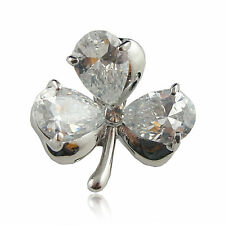 18k white Gold GF lucky clover leaf Diamond simulated crystals pin brooch